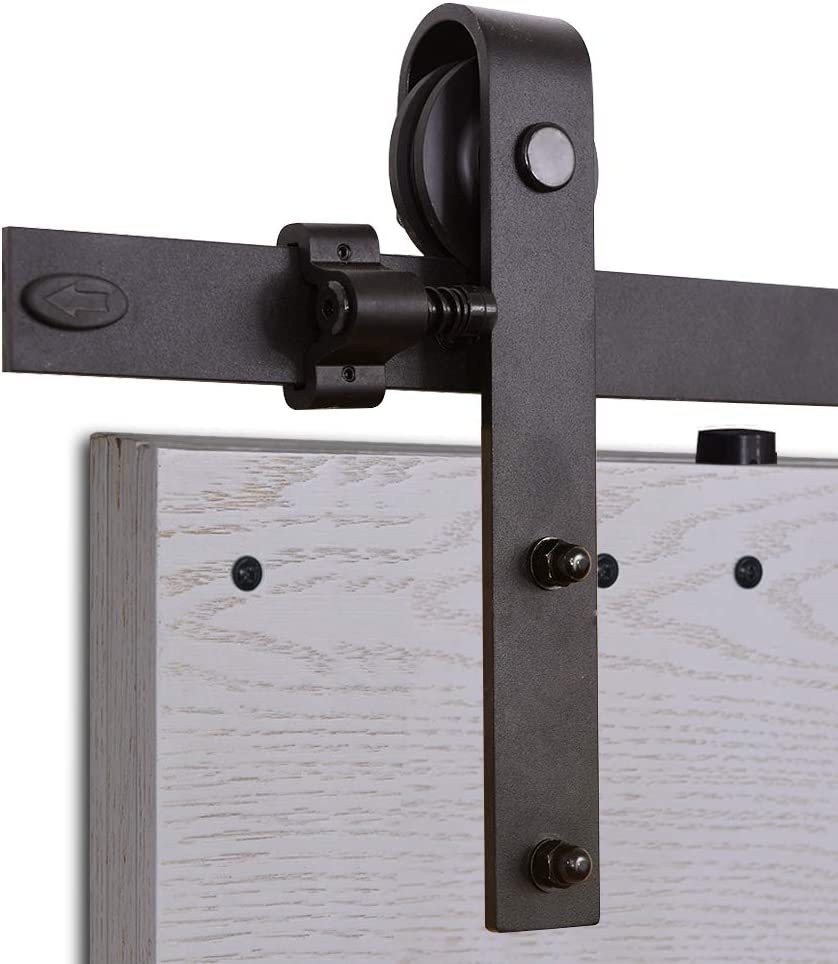 CCJH 8FT-244cm Herraje para Puertas Kit de Accesorios para Puerta Correderas Juego de Armarios de Acero Corredizos para Puertas Corredera Riel Rueda para Puerta de Madera Individual