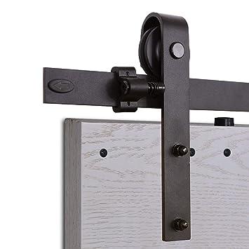CCJH 8FT-244cm Herraje para Puertas Kit de Accesorios para Puerta Correderas Juego de Armarios de Acero Corredizos para Puertas Corredera Riel Rueda para ...
