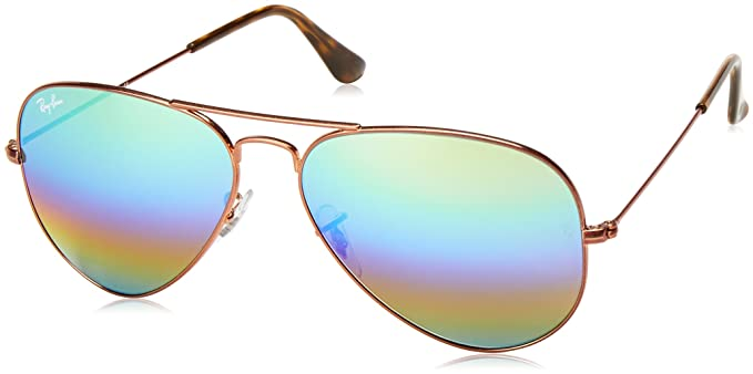 Ray-Ban Aviator Large Metal, Gafas de sol para Hombre, Marrón (Green Rainbow Flash), 62