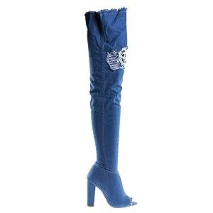Limelight60s BlueDenim Over Knee Blue Denim Jean Boots, Destroyed Torn Shaft, Frayed Trim -6