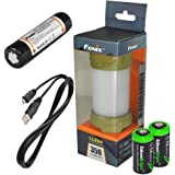EdisonBright Fenix CL25R 350 lumen USB rechargeable magnetic base camping lantern/work light (Olive green body), 18650 rechargeable battery with Two back-up use CR123A Lithium Batteries