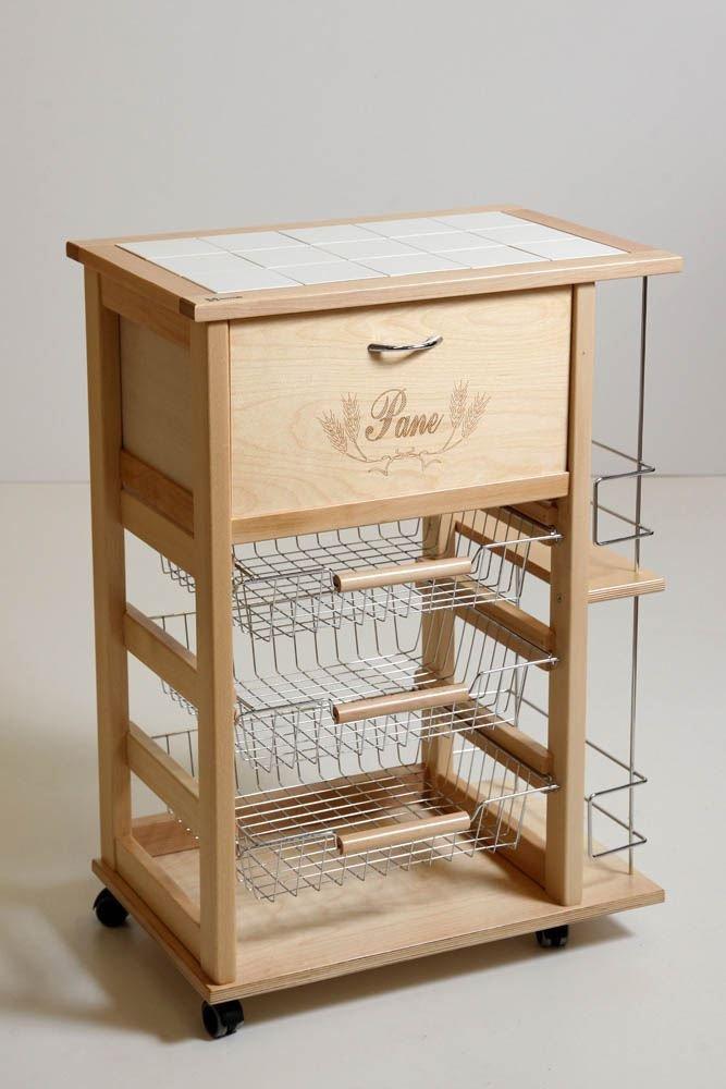 MASLEGNO - Carrito verdulero con cesta para el pan y botellero: Amazon.es: Hogar