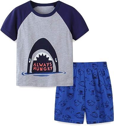 JDO Pajamas for Boys Dinosaur Shark Sleepwear Kids Boy Clothes 4 Piece Pants Set