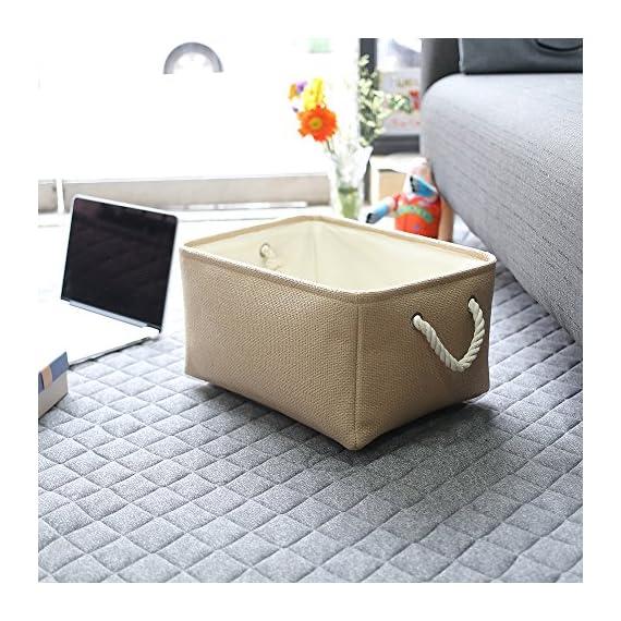 TheWarmHome Decorative Basket Rectangular Fabric Storage Bin Organizer Basket with Handles for Clothes Storage -  - living-room-decor, living-room, baskets-storage - 61bKQ5kzDOL. SS570  -