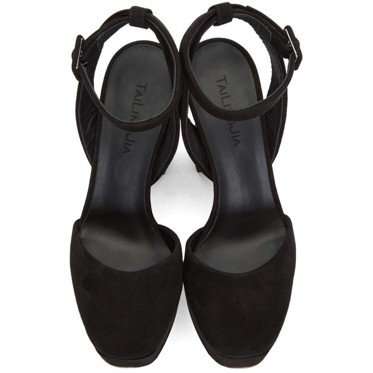 Zapatos De Cabeza Cabeza Cabeza Redonda De La Plataforma Impermeable De Tacón Alto De Gamuza Negra De Las Señoras Zapatos De Mujer De Gran Tamaño,Negro,46 ea013d