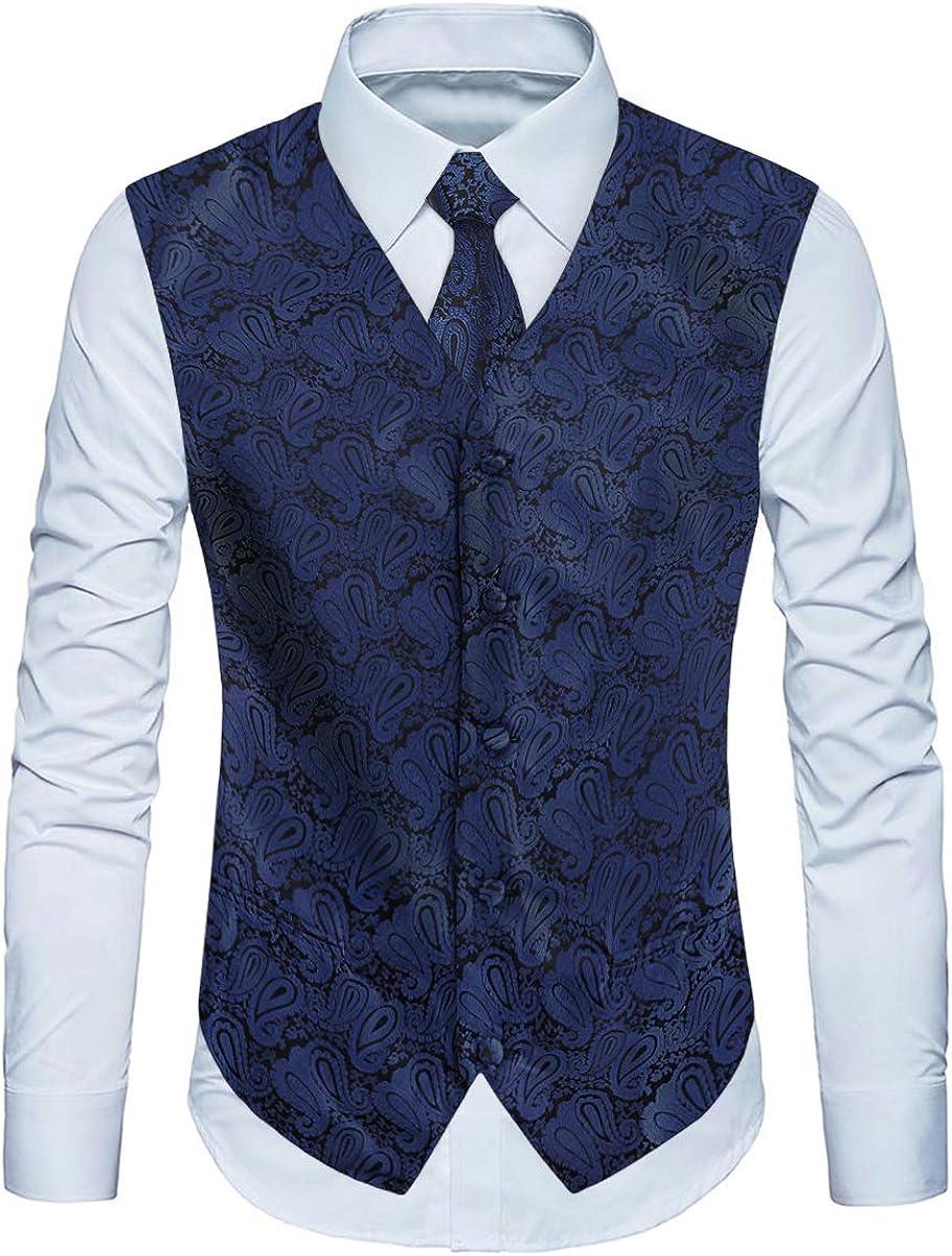 YIMANIE Mens Waistcoat Paisley Floral Jacquard Necktie Pocket Square Handkerchief Vest Suit Set