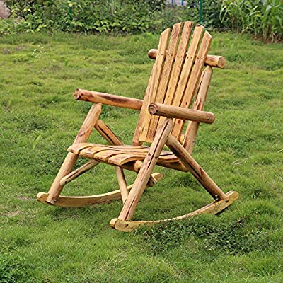 Merax Rocking Chair Solid Wood Indoor Outdoor Rocking Chair for Patio, Yard, Porch, Garden, Backyard, Balcony, Living Room.