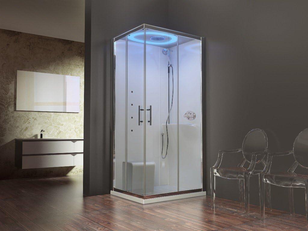 Cabina de ducha equipée Design Eon Novellini apertura en ángulo 80 x 80 cm o 90 x 90 o 100 x 80 cm cristal transparente 6 mm Crystal Clear antical grifo termostático: Amazon.es: Bricolaje y herramientas