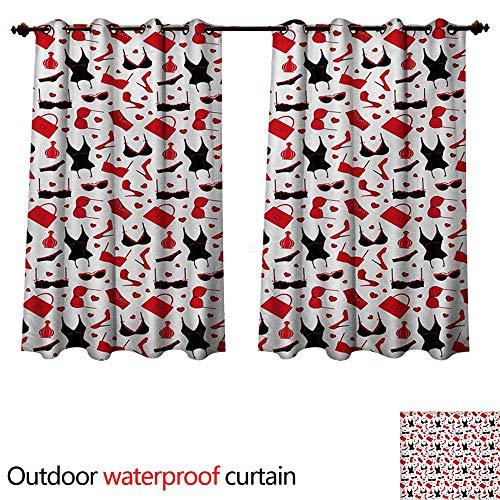WilliamsDecor Fashion Outdoor Balcony Privacy Curtain Female Vamp Sexy Print with Underwears Bras and Little Hearts Artwork W84 x L72(214cm x 183cm)