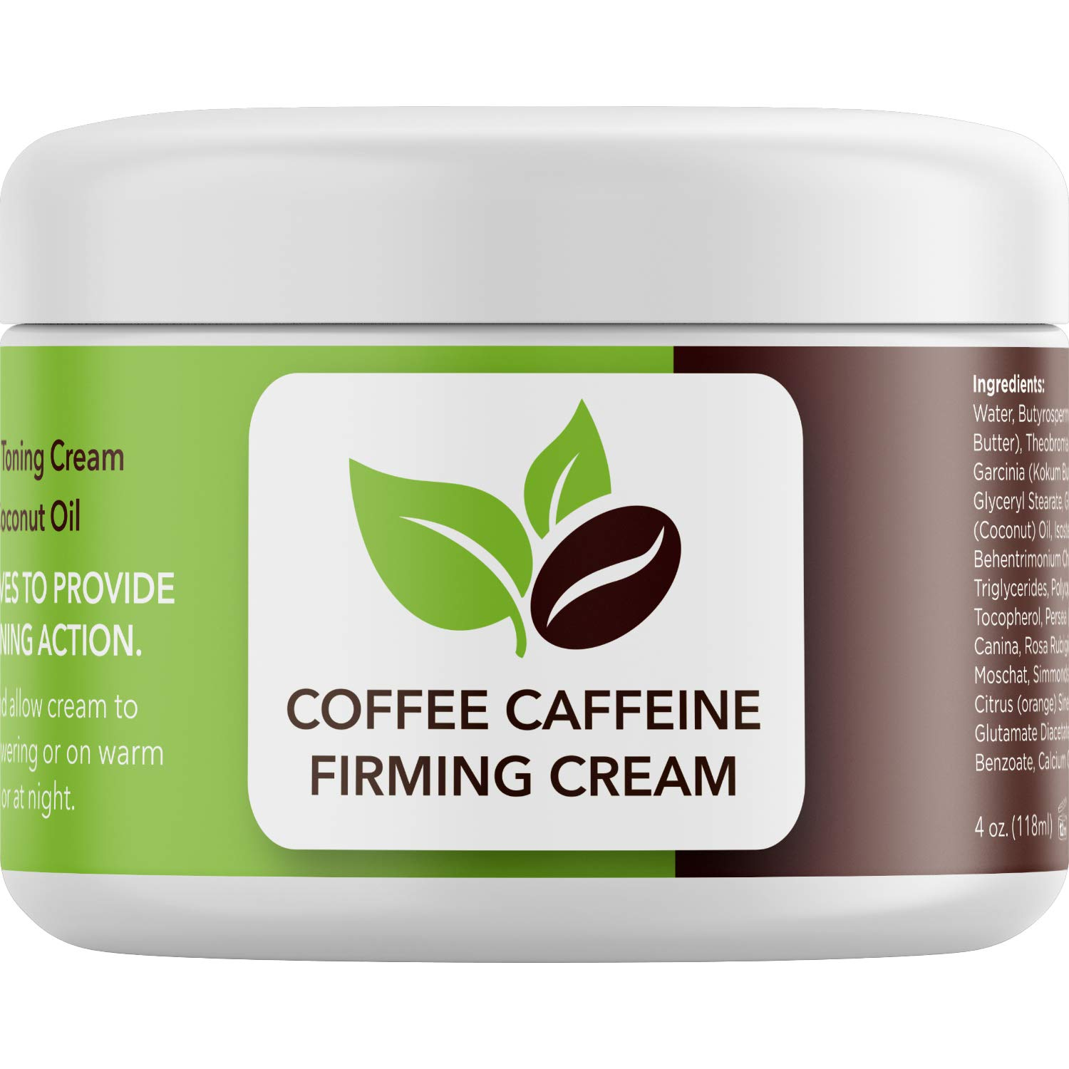 Rich Coconut Coffee Body Cream - Concealing Cellulite Cream and Hydrating Body Moisturizer for Dry Skin with Shea Butter - Whipped Body Butter and Caffeine Eye Cream for Anti Aging Skin Care