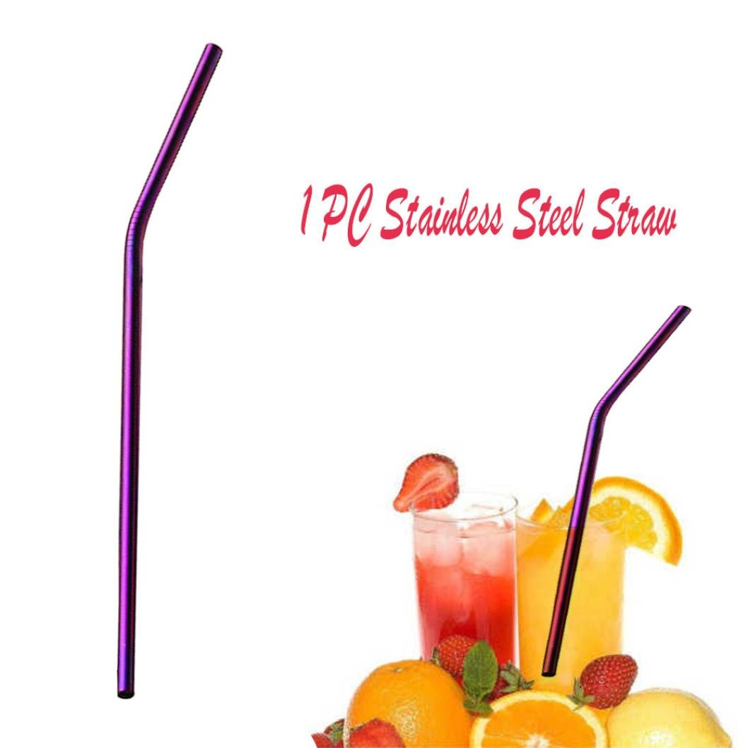 Stainless Steel Straws,Long Reusable Replacement Metal Straws for Cold Beverage Smoothies with Stainless Tumblers (Purple)