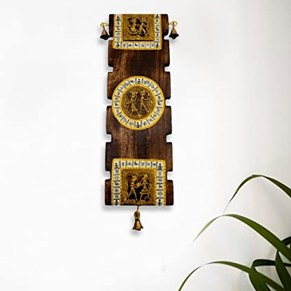 ExclusiveLane Dhokra Warli Handpainted Wooden Wall Hanging Indian Decorative Items For Home Art