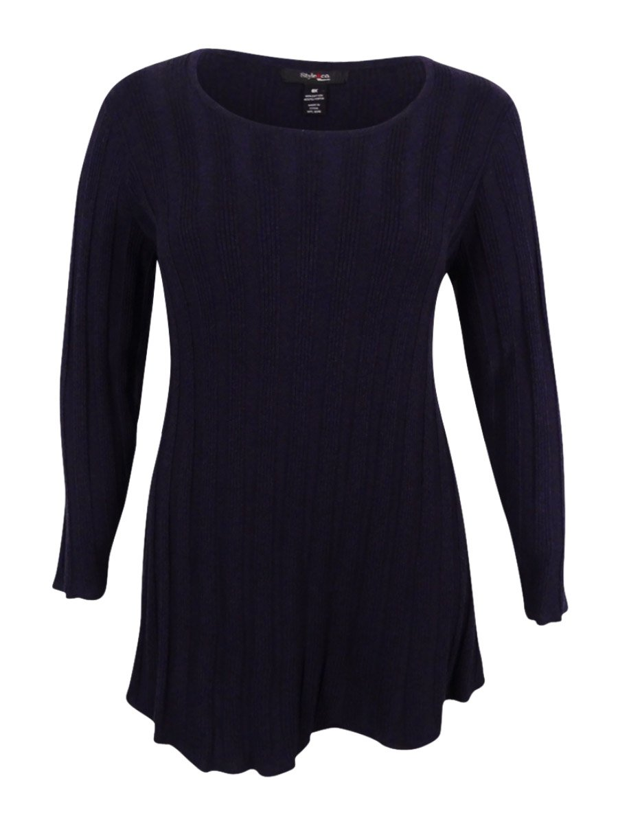Style & Co. Womens Plus Ribbed Scoop Neck Pullover Sweater Purple 2X