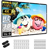 Projector Screen 150 inch, Taotique 4K Movie Projector Screen 16:9 HD Foldable and Portable Anti-Crease Indoor Outdoor Projec