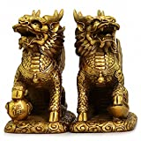 "Feng Shui Set of Two Golden Brass Chi Lin/Kylin Wealth Prosperity Statue + Set of 10 Lucky Charm Ancient Coins on Red String, Home Decoration Attract Wealth and Good Luck(2.6""L x 1.5""W x 2.9""H)"