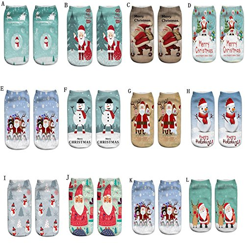 2018 new Christmas Women Casual Socks ,✈HYIRI Cute Unisex Low Cut Ankle 3D Printed Socks - Clay Calming Masque