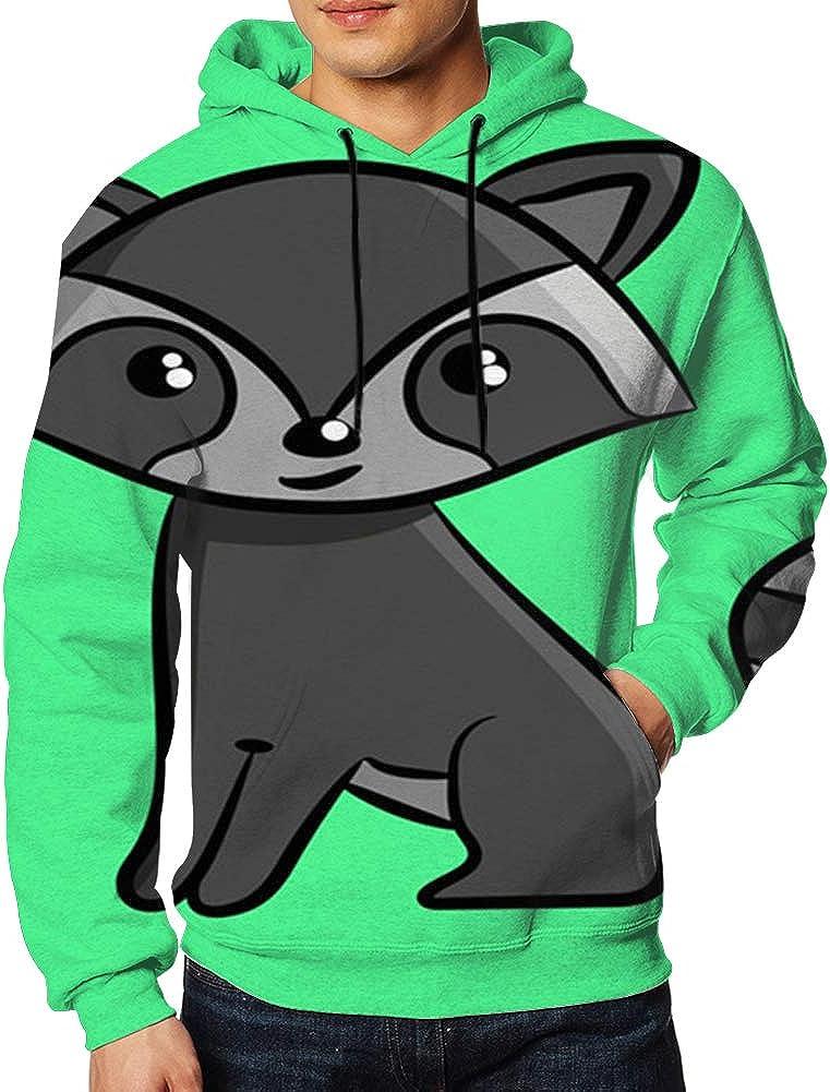 Raccoon on Circle Animal Mens Long-Sleeve Pullover Hoodie with Pocket