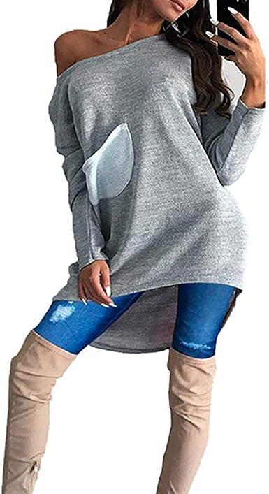 Camisa De Mujer con Manga Asimétrica Manga De Larga Sudadera con Ropa Estilo De Manga Larga Sin Tirantes Blusas Sin Mangas: Amazon.es: Ropa y accesorios