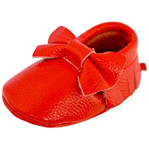 Unique Baby Leather Bow Moccasins Anti-Slip Tassels Prewalker Toddler Shoes (M (5.5 inches, Red)