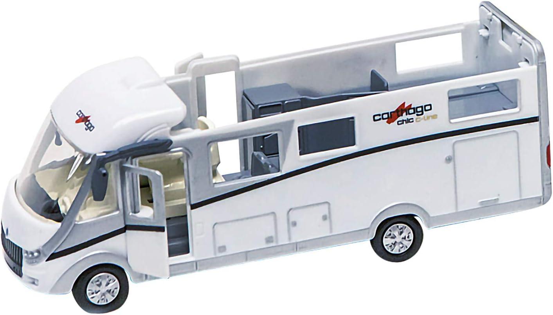 Kids Globe Carthago Camper 510008 - Carrito de juguete (16 cm, con luz, motor de retirada, iluminación interior y techo extraíble, incluye pilas)