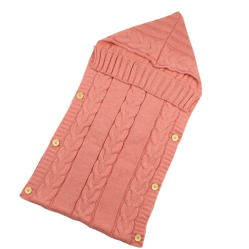 Baby Hooded Stroller Sleeping Bag Wool Knit Button Sleeping Bag Cute Props by QAZWSX