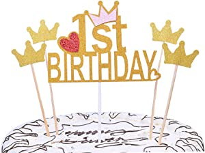 YUINYO First Birthday Party Decoration Gold Happy Birthday Cake Topper 1st Number Crown Cupcake Picks For Theme Party Dessert Table Decor Supplies