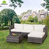 5 Piece Wicker Sofa Sectional Furniture Set Outdoor Sectional Sofa with Cushion, Mixed Grey