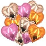 """ballonfritz Herz-Luftballon-Set in Rosegold/Orange/Rosa 10-tlg. - XXL 18"""" Folienballon-Set als Hochzeit Deko, Geschenk oder Liebes-Überraschung zum Valentinstag"""