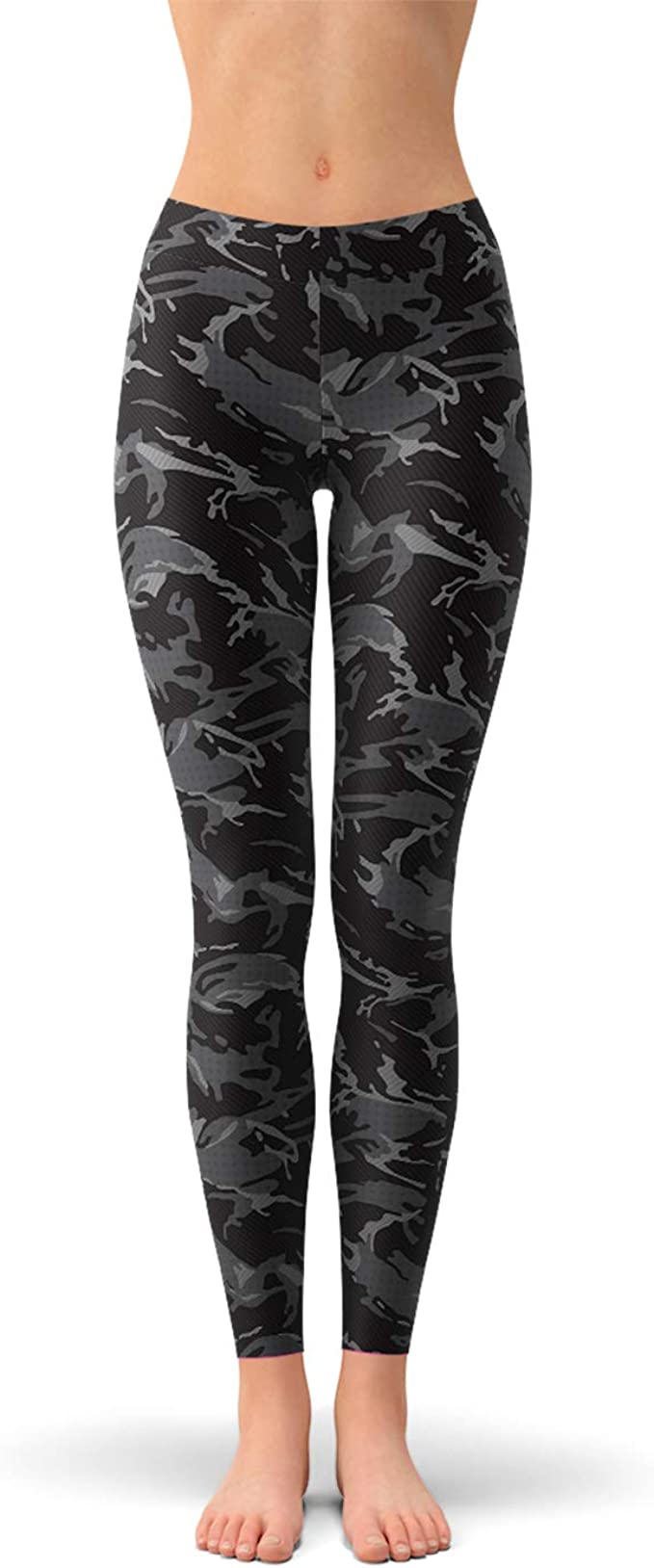 sangue Morte permeabilità  Satori_Stylez Black Camo Leggings for Women Mid Waisted Pants with Dark and  Gray Camouflage Print at Amazon Women's Clothing store