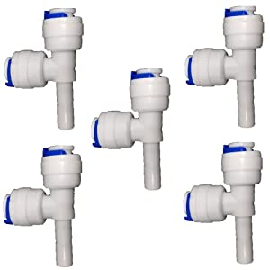 """PureSec 2017 SRT14TUX214STEM Mini white plastic quick fitting Stem plug in Run tee connector for tubing OD 1/4"""" used for RO system refrigerator ice maker coffee machine(Pack of 5)"""