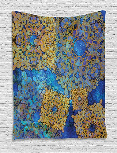 Exotic Tapestry - Ambesonne Ethnic Tapestry, Traditional Persian Motif Oriental Moroccan Effects Exotic Style Boho Design, Wall Hanging Bedroom Living Room Dorm, 40 W x 60 L inches, Light Coffee Blue