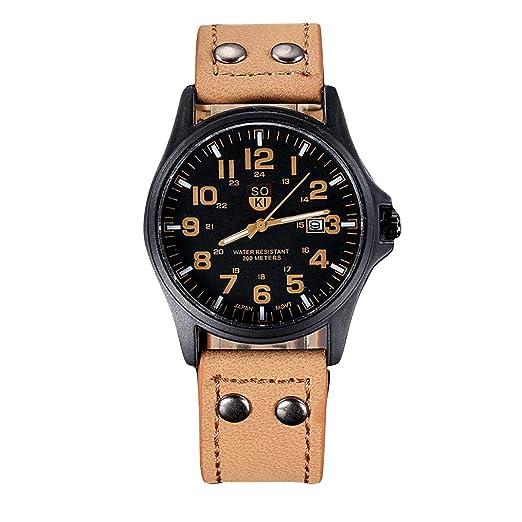 Cebbay Reloj Deportivo de Cuarzo para Hombre.Correa de Cuero Reloj Militar Retro clásico y