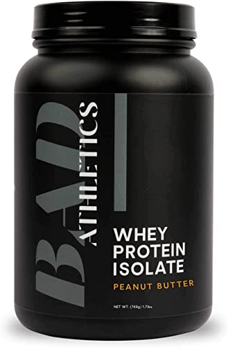 Bad Athletics Grass Fed 100 Whey Protein Isolate, Peanut Butter – Five Ingredients, 20g of Protein, Naturally Flavored Sweetened 30 Servings