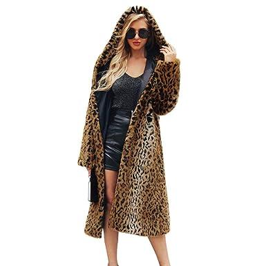 Biback Abrigo Largo de Piel sintética Leopardo de Las Mujeres Abrigo de Invierno Abrigo Largo de