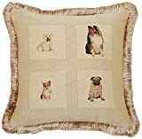 Corona Decor French Woven Feather and Down Filled Best Friends Jacquard Decorative Pillow
