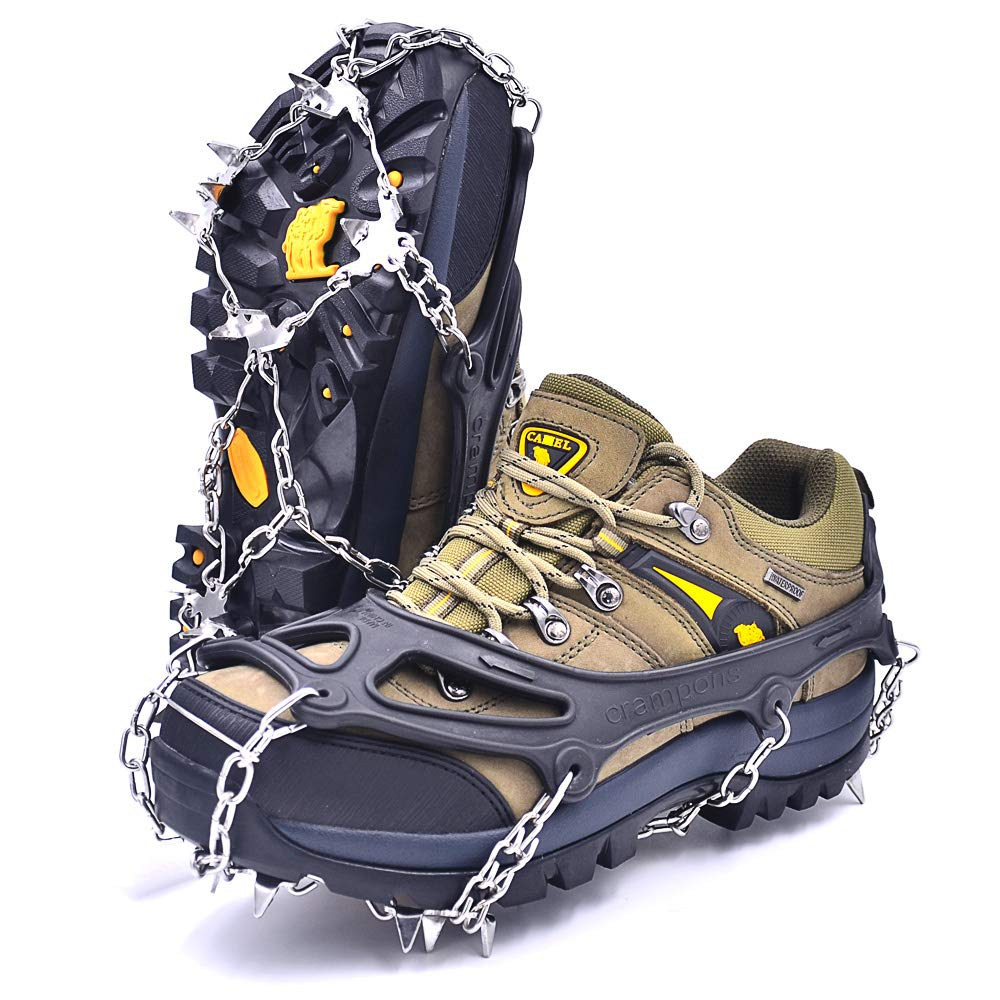 Leanking Ice Snow Grips, Traction Cleats Ice Cleats with 18 Spikes for Walking, Jogging, Climbing and Hiking on Snow, Ice, Mud, Sand and Wet Grass (Black, M) by Leanking