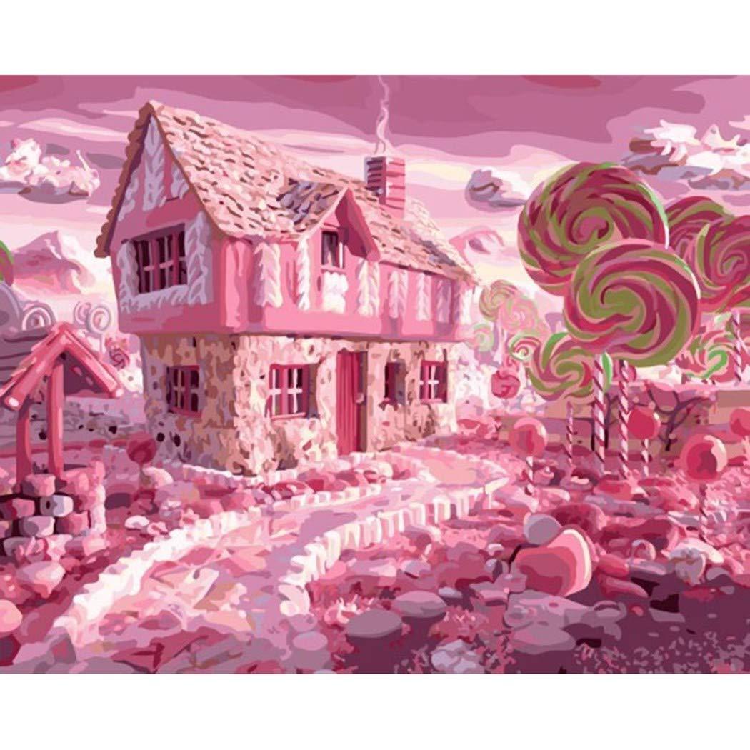 DAMENGXIANG DIY Pintado A Mano Pintura Números Pintura Mano Al Óleo Rosa Candy House Moderno Arte Abstracto Imágenes para La Sala De Estar Decoración para El Hogar 40 × 50 Cm con Marco a9c1d4