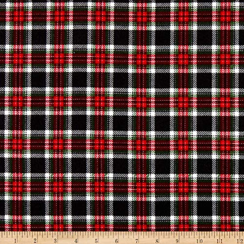 Timeless Treasures Flannel Holiday Plaid Black Fabric by the Yard