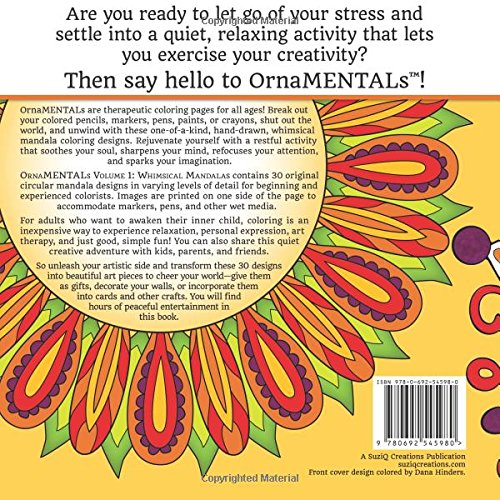 Amazon OrnaMENTALs Whimsical Mandalas 30 Mandala Coloring Pages For Adults Volume 1 9780692545980 Sue Chastain Books