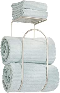 mDesign Modern Metal Wire Wall Mount Towel Rack Holder and Organizer with Storage Shelf - for Bathroom Towels, Washcloths, Hand Towels - Decorative Curved Design - Satin