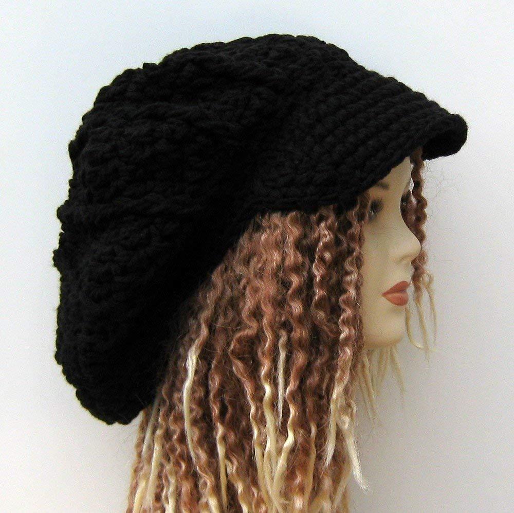 Women Slouchy Hat Dread Tam hat Dreads Beanie Men Slouch Beanie Dreadlocks Hat Khaki Brown Slouchy Beanie Dread Tam Hat