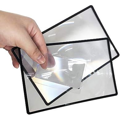 ba5461a5a87a Fresnel Lens of 2 Large+ Bonus Wallet Size Fresnel Plastic Lens Magnifier  for Reading 3X Fresnel