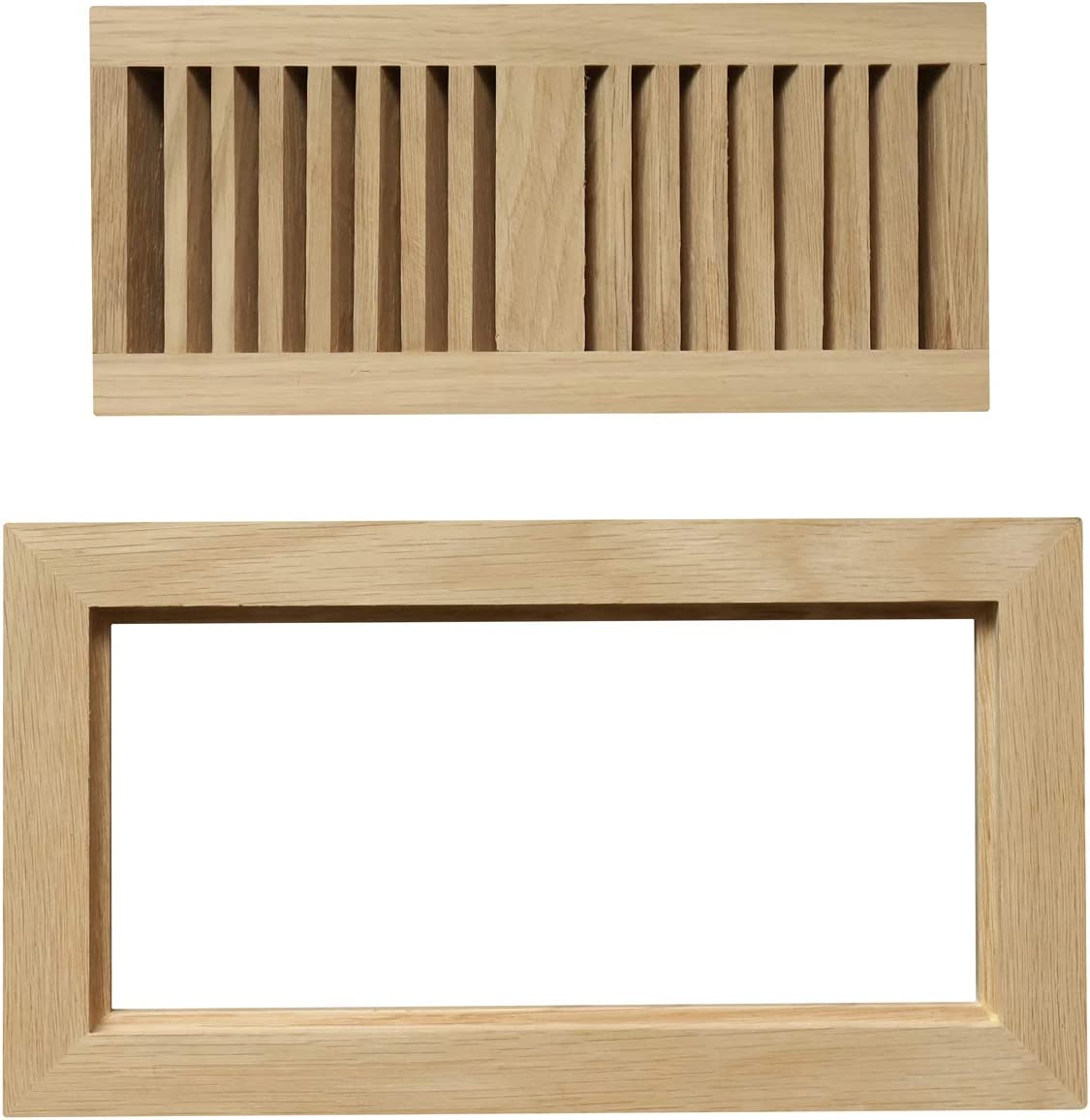 """WELLAND Wood Floor Register Vents 4 x 10 Inch(Duct Opening),Red Oak Flush Mount Vents Cover Unfinished, 3/4"""" Thickness"""