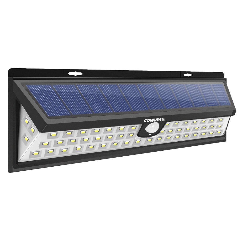 Comwinn Super Bright Solar Lights 54 LED Solar Power Outdoor Motion Sensor Light,LED on Both Side Waterproof for Deck,Yard,Garden,Patio,Driveway,Outside Wall with Wide Angle Sensor,White Light