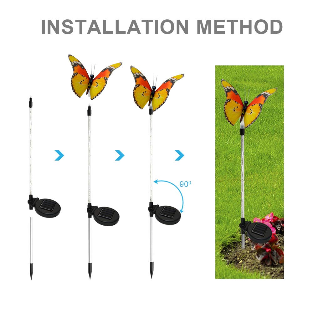 Solarmks Solar Lights Outdoor Garden Decorative Light,with a Purple LED Light Stakes Multi-Colored Changing Fiber Optic Butterfly LED Lighting for Garden Patio Backyard,Pack of 3