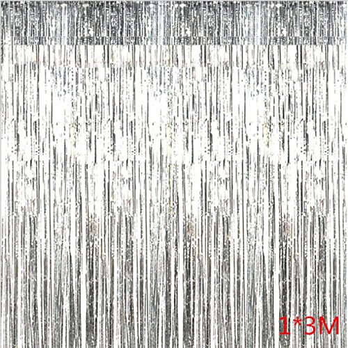 UPlama 2PACK 1M x 3M Metallic Tinsel Foil Fringe Curtains for Party Photo Backdrop Birthday Wedding Party Decor Christmas Decorations.(Silver) ()
