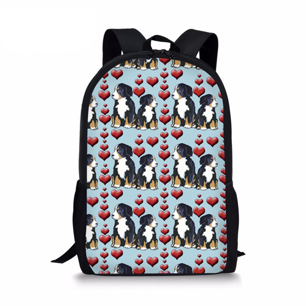 Youngerbaby Bernese Mountain Dog Print Backpack for Girls Middle School Book Bag Kids Bag