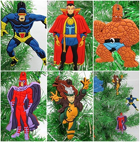 Christmas Tree Ornaments X-Men and Other Comic Books Super Hero Set Featuring Prominent Xmen Characters - Unique Shatterproof Plastic Design