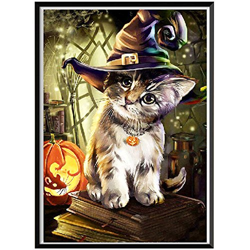 Wizard 2 Embroidery - DIY 5D Diamond Painting Dartphew [ Halloween pumpkin cute cat and wizard hat ] - Sewing Cross Stitch & Crafts,Creative Wall Stickers -for Living room Decorating&Home(40X30CM)