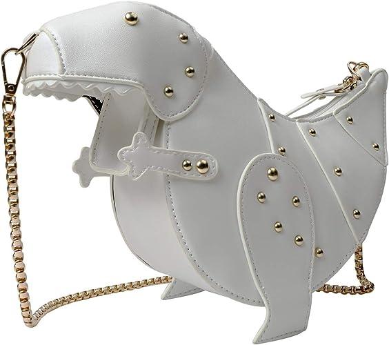 Dinosaur Shape Crossbody Shoulder Bag Women Leather Rivet Clutch Purse Handbag